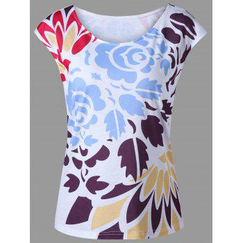 Cap Sleeve Summer Floral T-Shirt