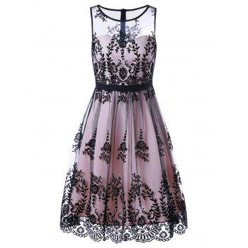 Floral Print Mesh Prom Cocktail Dress