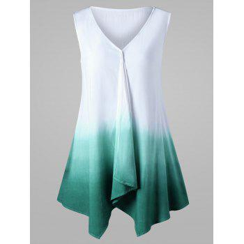 V Neck Ombre Sleeveless Tunic Top