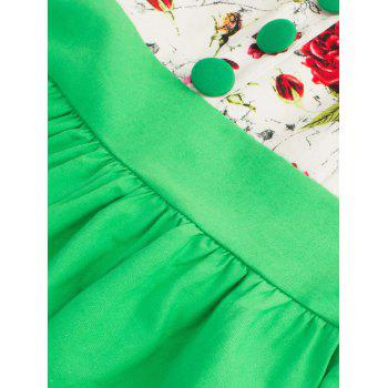 Single Breasted Floral 1950s Swing Dress - GREEN L
