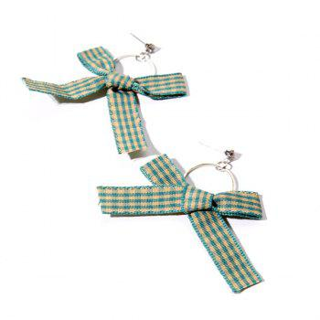 Rhinestone Circle Plaid Fabric Bow Earrings
