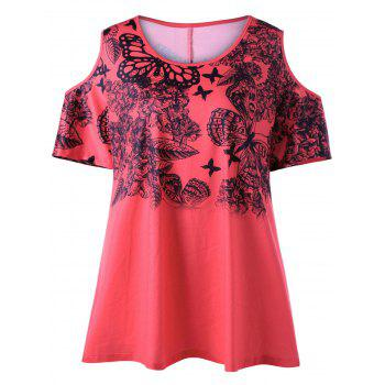Plus Size Butterfly Print Cold Shoulder T-shirt