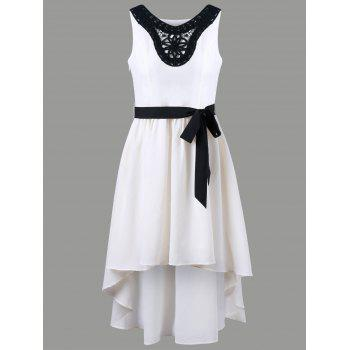 V Neck Applique Chiffon High Low Dress - OFF-WHITE OFF WHITE