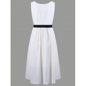 V Neck Applique Chiffon High Low Dress - OFF WHITE M