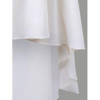 V Neck Applique Chiffon High Low Dress - OFF WHITE L