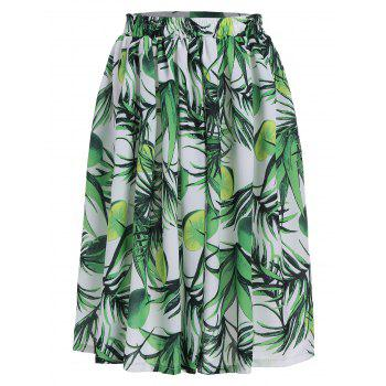 Lemon Leaf Printed Elastic Waist Flared Skirt