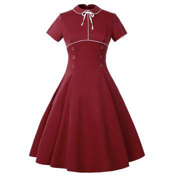 Peter Pan Collar Buttoned Vintage Dress