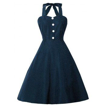 Halter Polka Dot Print Pin Up Dress
