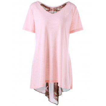 Plus Size Lace Up High Low Hem T-shirt - XL XL