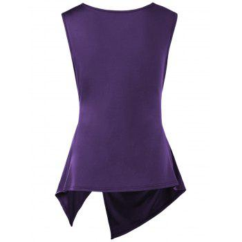 Sleeveless Cowl Neck Asymmetric T-shirt - DEEP PURPLE DEEP PURPLE