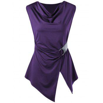 Sleeveless Cowl Neck Asymmetric T-shirt