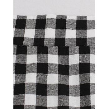 Tartan High Waist Mermaid Skirt - BLACK WHITE XL