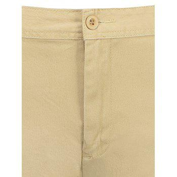 Zip Fly Pockets Bermuda Cargo Shorts - KHAKI 34