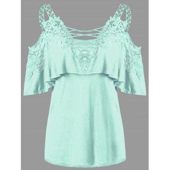 Dew Shoulder Overlay Applique T-shirt - MINT MINT