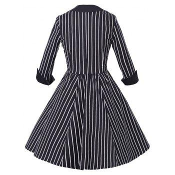 Sweetheart Neck Stripe Vintage Dress - BLACK L