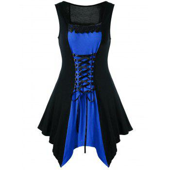 Plus Size Lace Trim Lace Up Sleeveless Dress