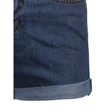 High Waist Cuffed Denim Shorts - DEEP BLUE XL