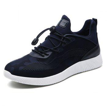 Stretch Fabric String Printed Athletic Shoes - DEEP BLUE 43