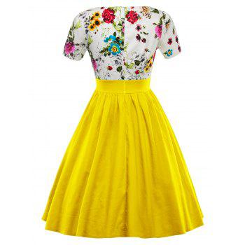 Single Breasted Floral 1950s Swing Dress - YELLOW M