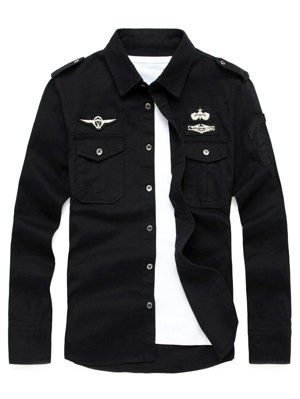 Front Pocket Badge Embroidered Design Military Shirt - BLACK L
