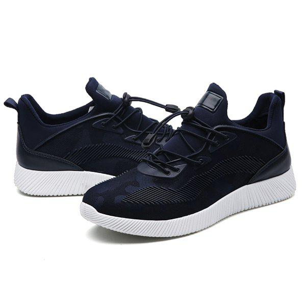 Stretch Fabric String Printed Athletic Shoes - DEEP BLUE 40