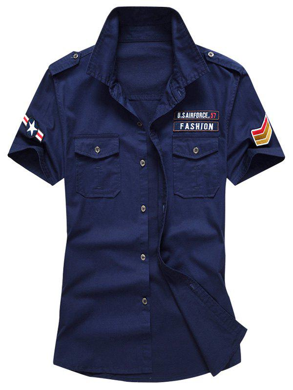 Short Sleeves Embroidered Patch Shirt - DEEP BLUE L