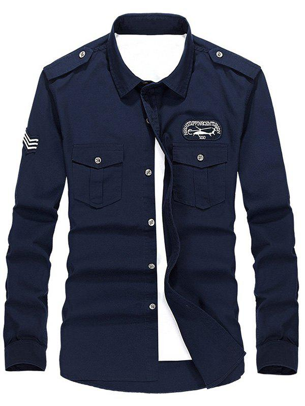 Helicopter Embroidered Logo Design Long Sleeves Shirt - DEEP BLUE L