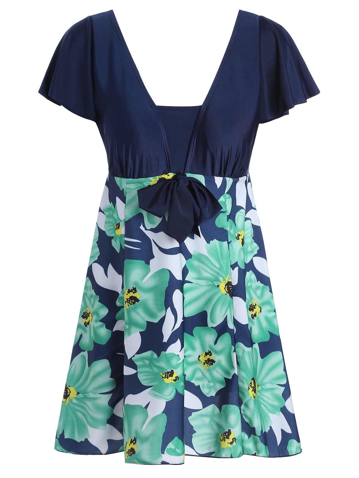 High Waisted Floral Plus Size Skirted Swimsuit