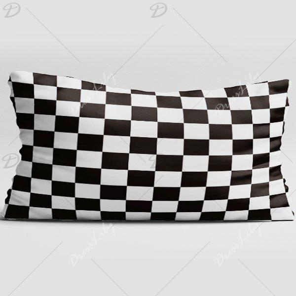 Plaid Double Side Print Brushed Fabric Pillow Case - BLACK WHITE W20 INCH * L36 INCH