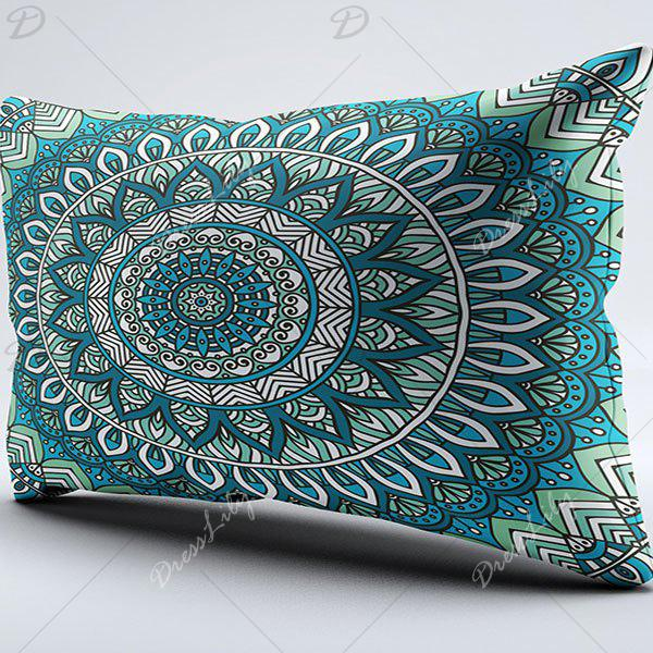 Bohemian Style Floral Brushed Fabric Pillow Case - CYAN W20 INCH * L36 INCH