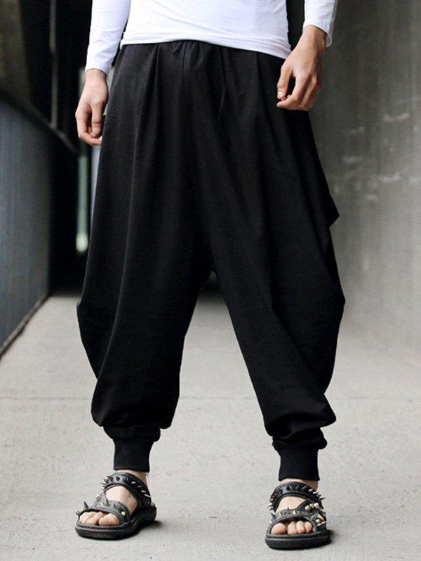 Drawstring Cotton Linen Low-Slung Crotch Harem Pants - BLACK ONE SIZE