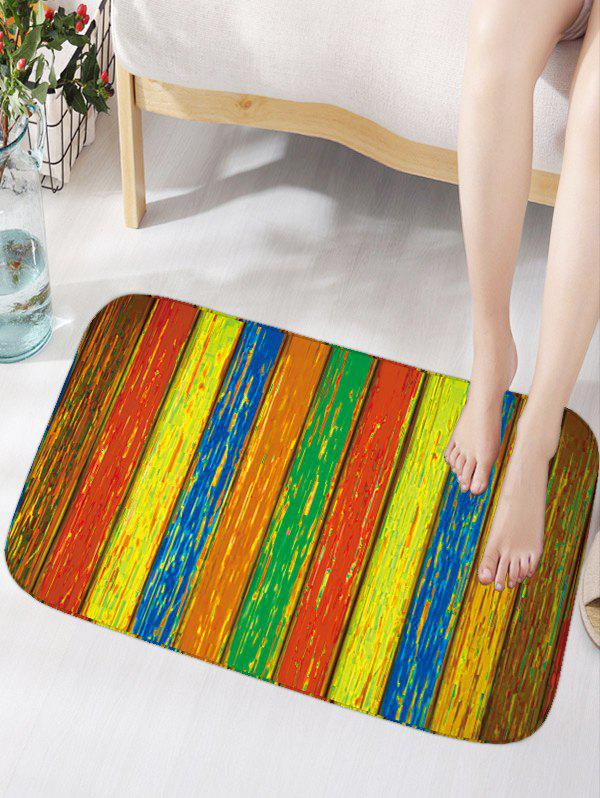 Vintage Wood Grain Skidproof Flannel Door Mat - COLORMIX