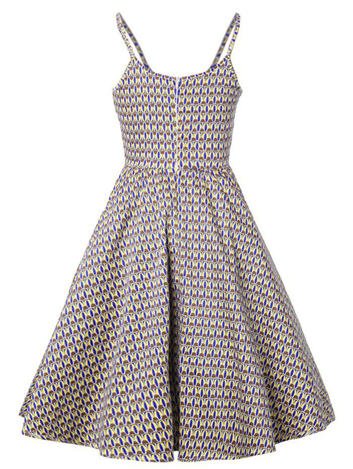 Printed Vintage Slip Dress - COLORMIX M