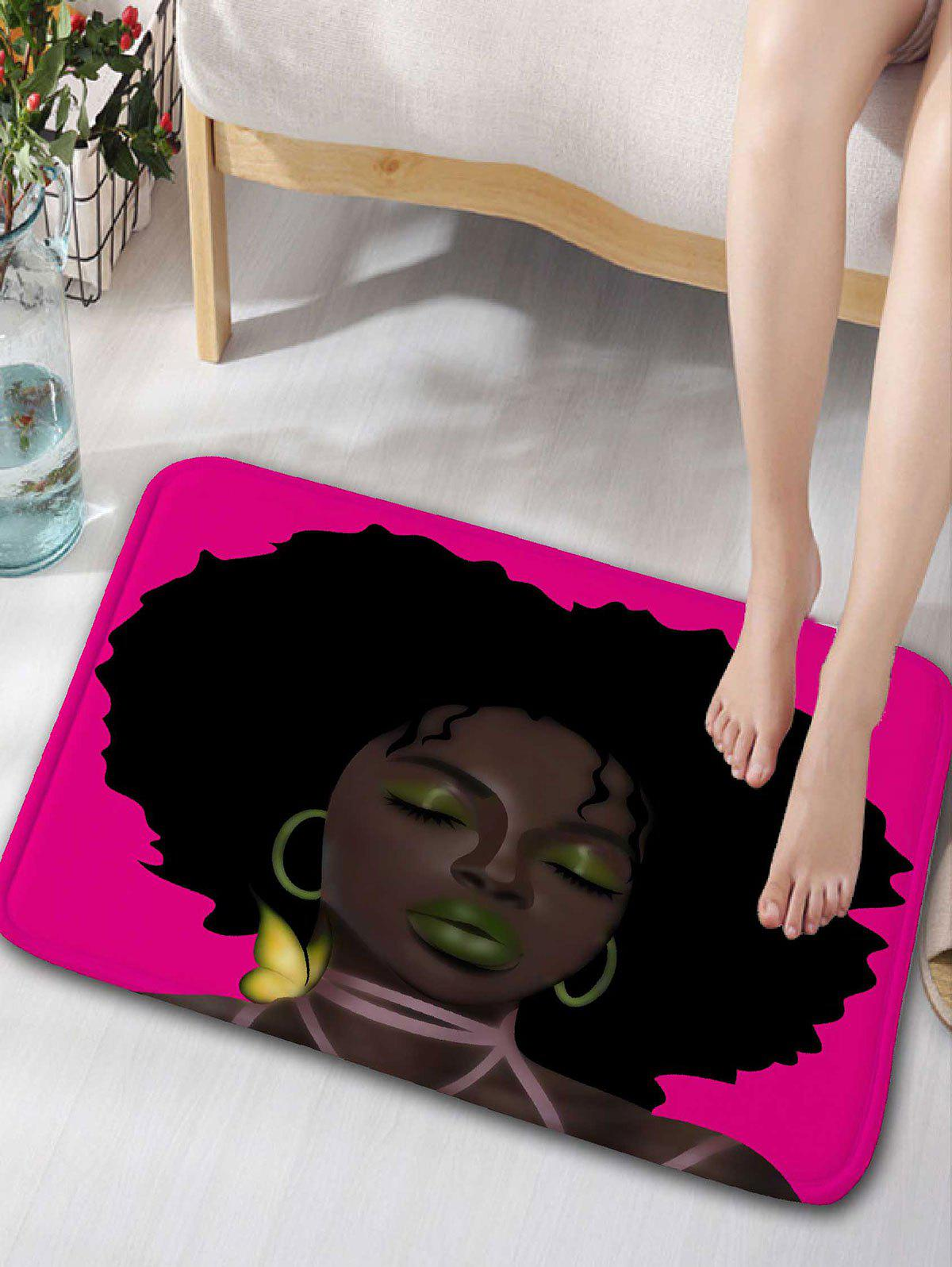 Afro Hair Lady Flannel Bathroom Rug - TUTTI FRUTTI