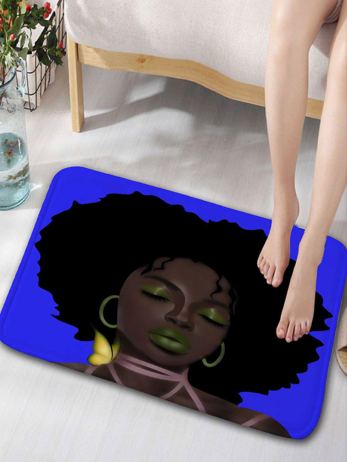 Afro Hair Lady Flannel Bathroom Rug - BLUE