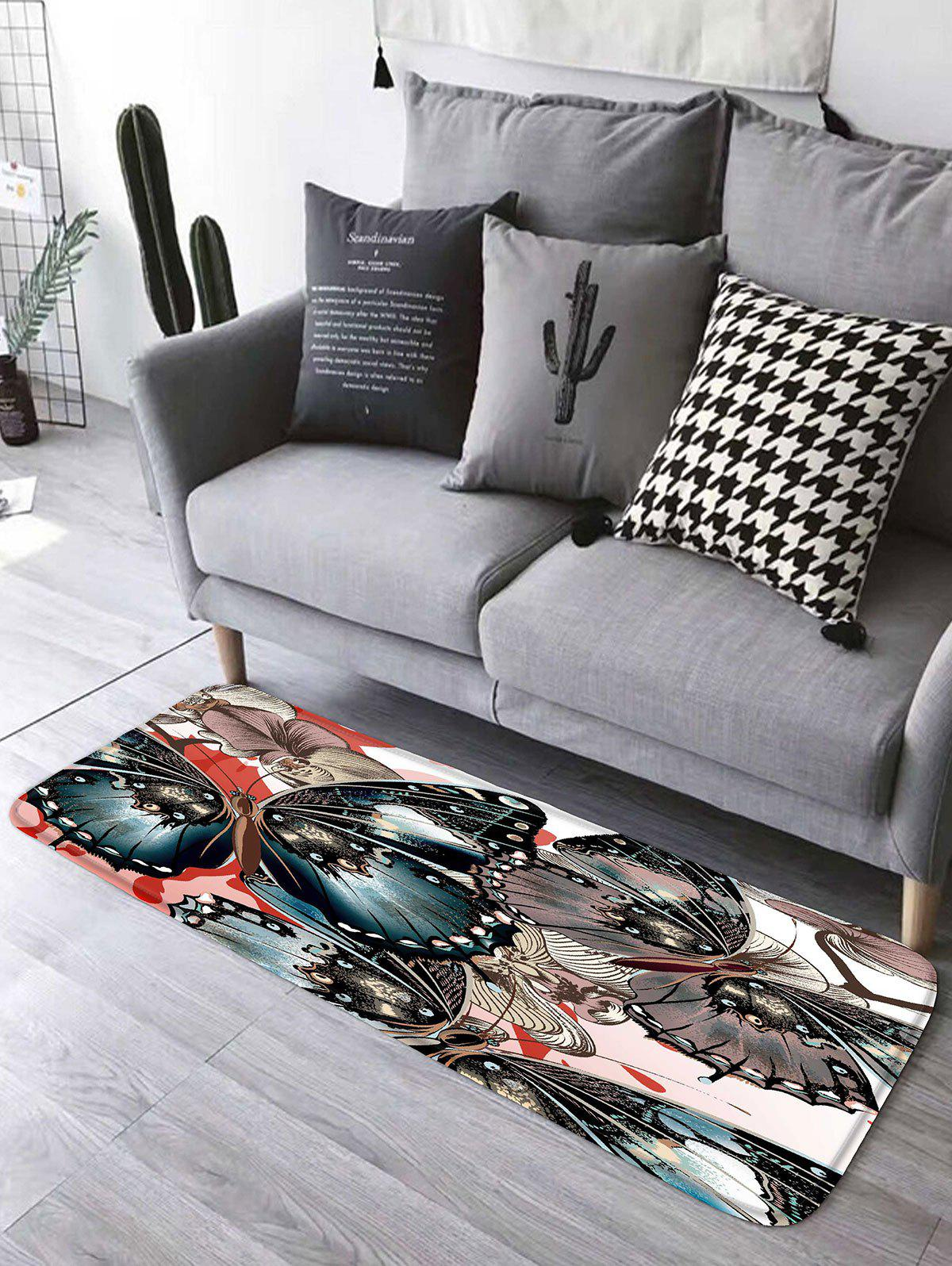 Floral Butterfly Flannel Skidproof Bathroom Rug цена 2017