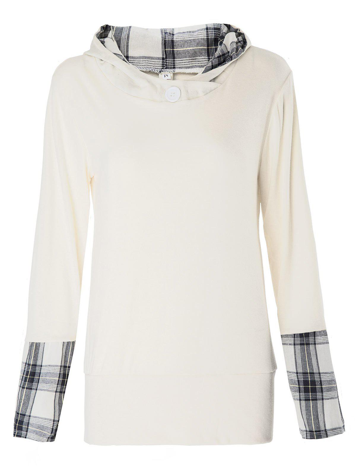 Stylish Hooded Long Sleeve Plaid Spliced Women's Hoodie - OFF WHITE L
