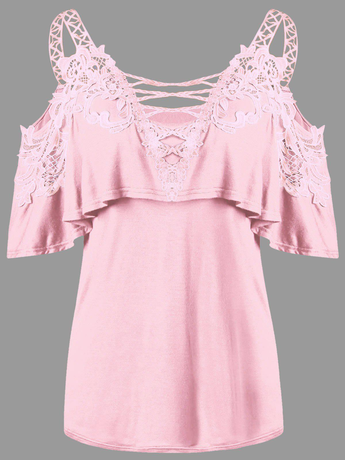 Dew Shoulder Overlay Applique T-shirt - PINK 2XL