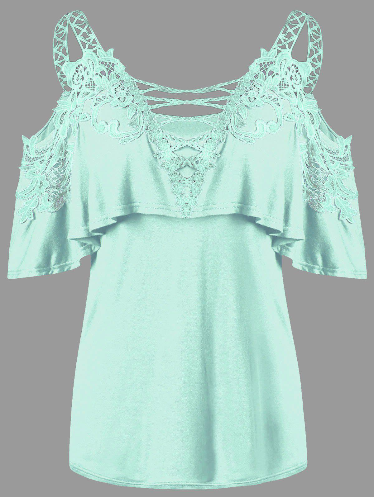 Dew Shoulder Overlay Applique T-shirt - MINT M