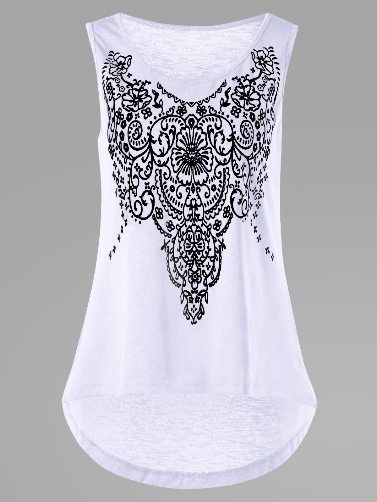 Sleeveless Bandana Floral High Low Hem T-shirt bandana buff skull