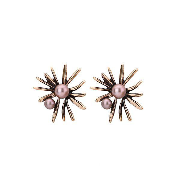 Alloy Floral Shape Faux Pearl Stud Earrings faux pearl beaded round floral earrings