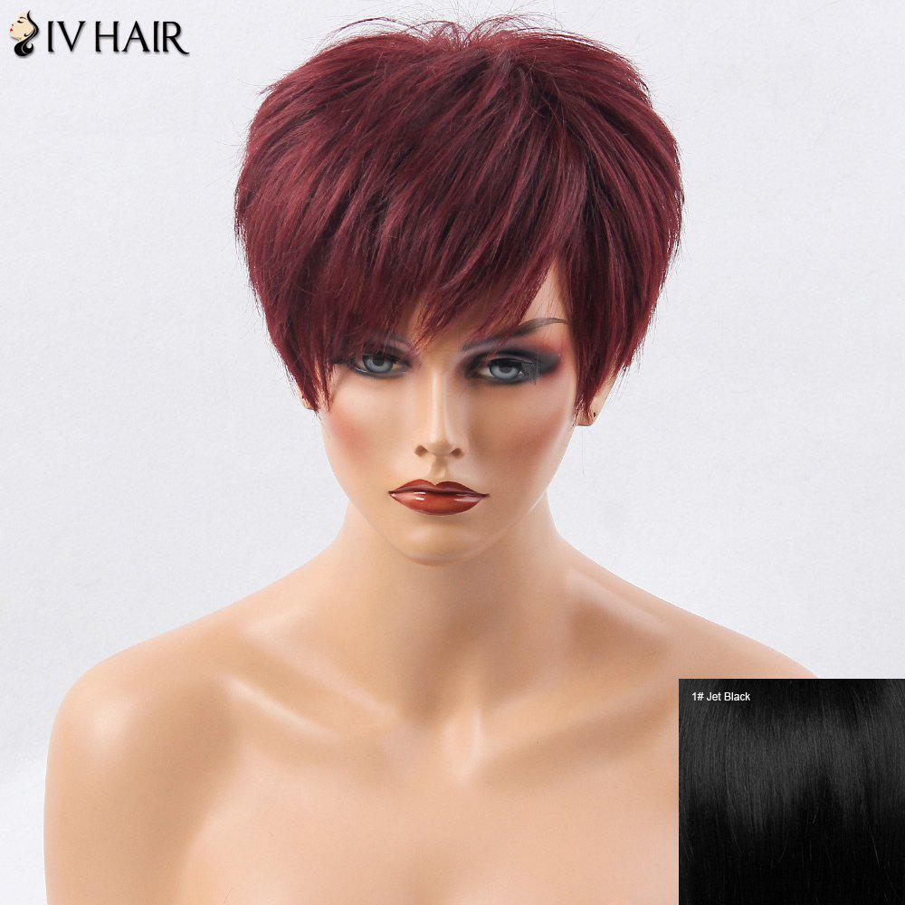 Siv Hair Short Incliné Bang Shaggy Layered Straight Hair Hair Wig - JET NOIR