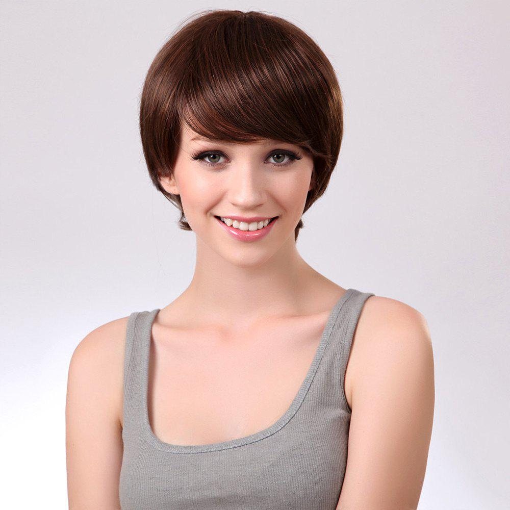 Oblique Bang Straight Short Synthetic Wig