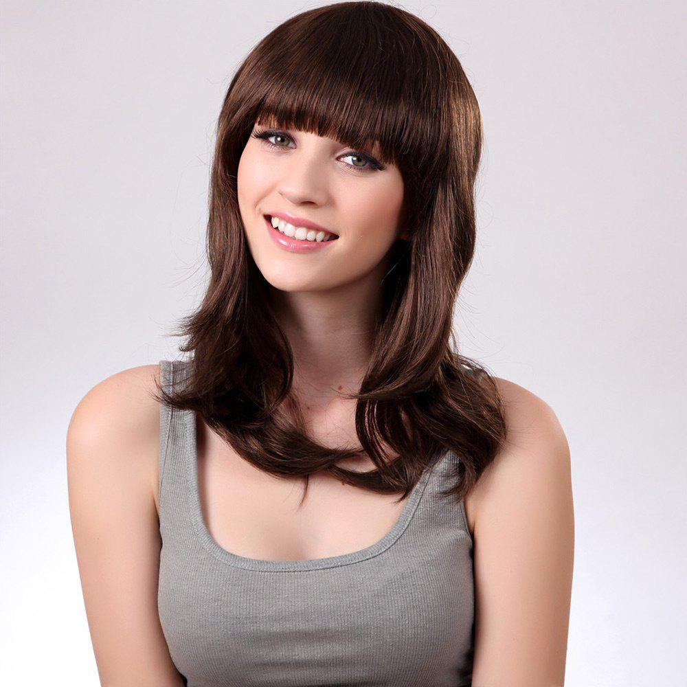 Long Neat Bang Natural Straight Synthetic Wig spine lady 357 40