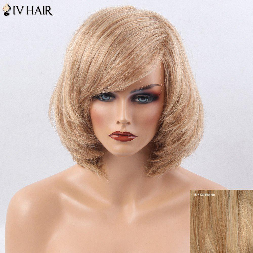 Siv Hair Oblique Bang Short Straight Bob Perruque de cheveux humains - / 3 Blonde