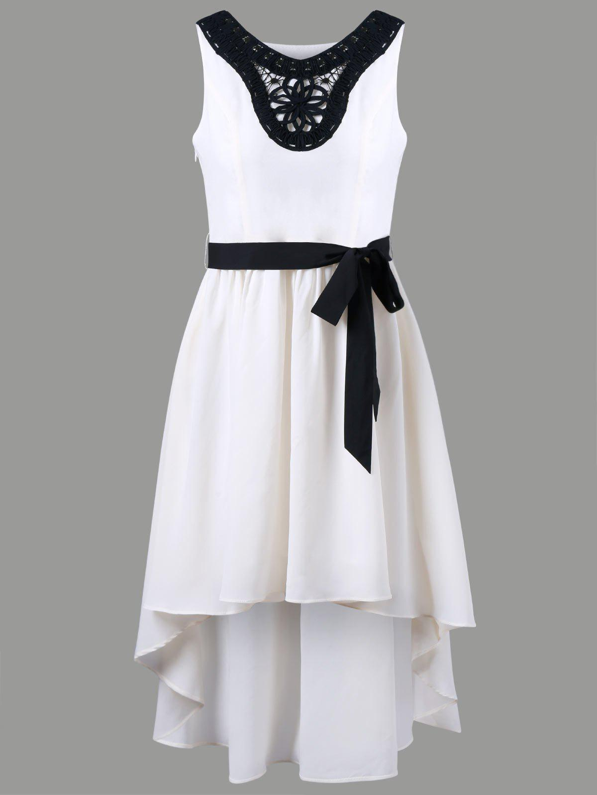 V Neck Applique Chiffon High Low Dress - OFF WHITE XL