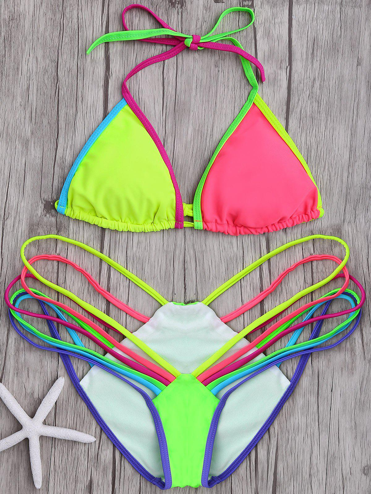 Sexy Halter Sleeveless Hollow Out Color Block Women's Bikini Set - COLORMIX S