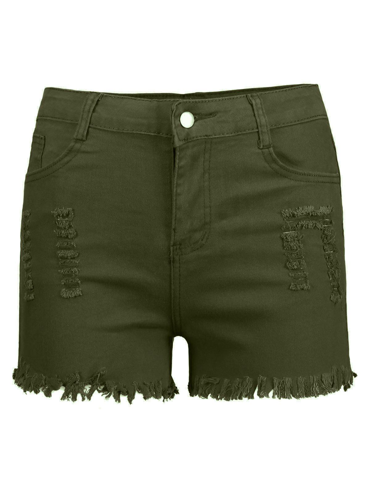 Frayed Ripped High Waisted Denim Shorts - ARMY GREEN S
