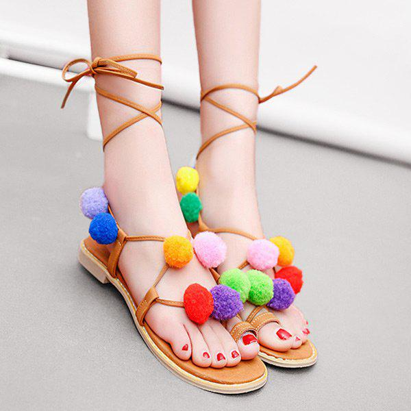 Pom Pom Tie Leg Gladiator Sandals 2w 3500k 40 led warm white decorative string light warm white 4m