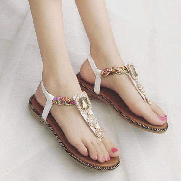 T Bar Rhinestone Flat Sandals, WHITE in Sandals ...